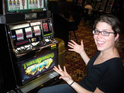 Morgen showing off after her 25-quarter jackpot. We almost cashed out after that. Seriously.