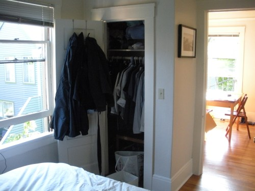 One more from the bedroom. Closet on the left, door into the living room on the right.