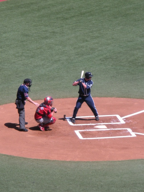 Not actually sure who this is batting, but you can see Portland's throwback all-blue uniforms on display.