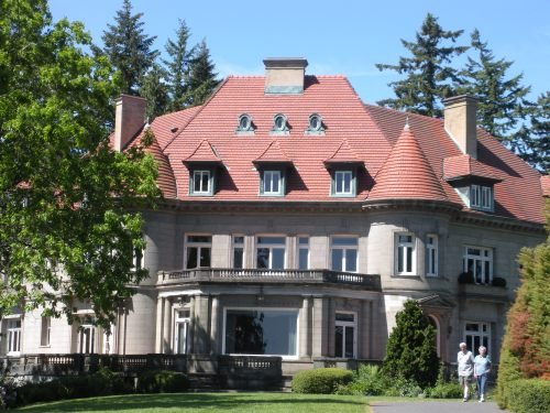 Pittock Mansion from the backyard. Very cool house, though it was too early for us to go inside.
