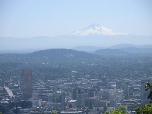 Mt. Hood in the distance with part of downtown Portland in the foreground. We were lucky that it was such a clear day.