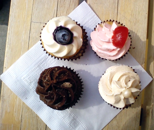 Clockwise from top left - blueberries n' cream, shirley temple, pearl, and downtown cupcake brown