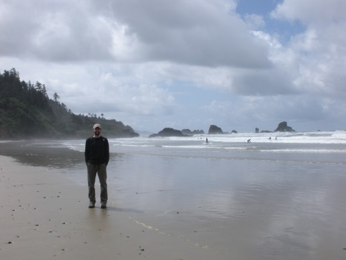 Michael and a view from Indian Beach toward Ecola Point.