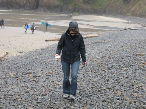 Morgen braving the rain on Indian Beach.