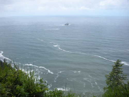 The Tillamook Rock Lighthouse from the uppermost viewpoint of our hike.