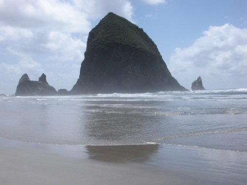 Haystack Rock from up close.
