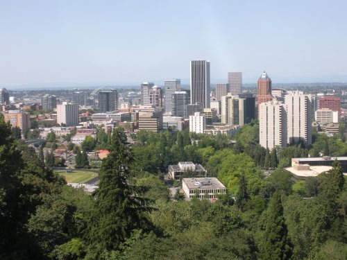 Portland State University in the foreground and downtown Portland from the tram.