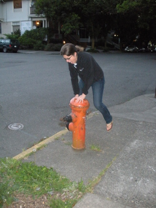 Morgen trying to leap-frog a fire hydrant on NW 22nd Ave.