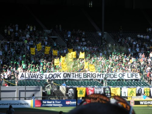 The Timbers Army in the North End, just before kickoff.