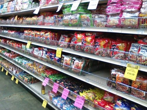 Aisle dedicated to all things ramen.
