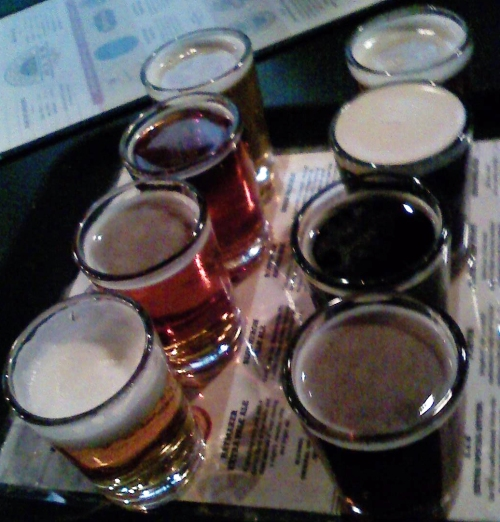 Eight-beer sampler at Bridgeport. Sorry for the blurriness.