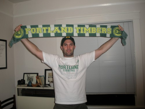 Not yet in the Timbers Army, but gathering the requisite gear.