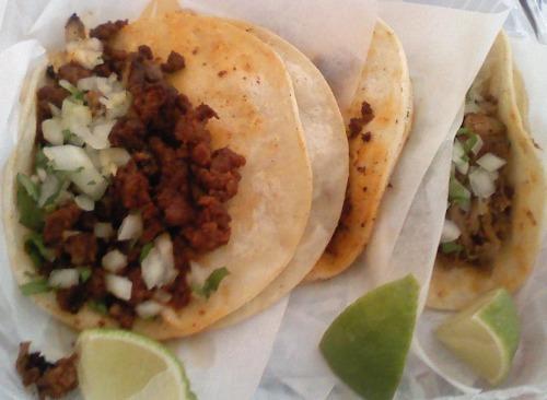 Chorizo and carnitas tacos from Tito's Burritos.