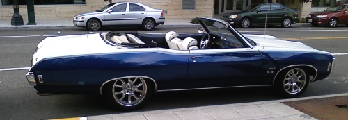 Sadly, this 1969 Chevy Impala SS Convertible has been tricked out.