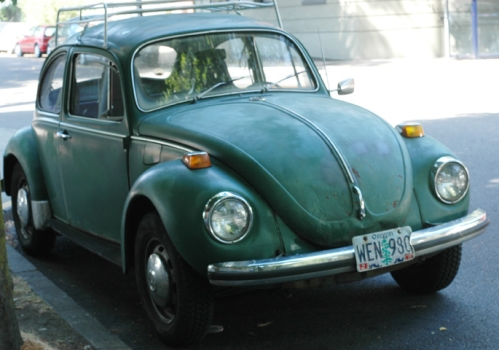 Hard to tell exactly, but probably a 1970 Volkswagen Beetle. There are literally dozens of these in our neighborhood, so this will suffice to represent them all.