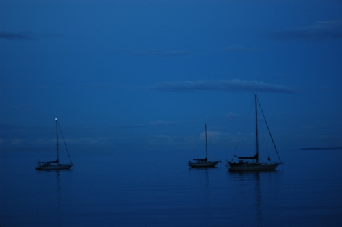 Sailboats in Port Angeles Harbor at Night